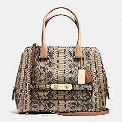 COACH SWAGGER FRAME SATCHEL IN COLORBLOCK EXOTIC EMBOSSED LEATHER - f37585 - LIGHT GOLD/BEECHWOOD