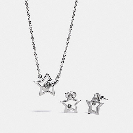 COACH BOXED STAR NECKLACE AND EARRINGS SET - SILVER - F37600