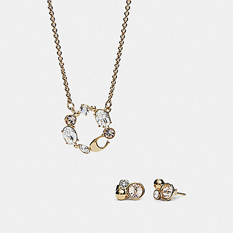 COACH BOXED PENDANT NECKLACE AND EARRINGS SET - MULTI/GOLD - F37601