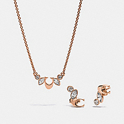 BOXED CLUSTER NECKLACE AND EARRINGS SET - MULTI/ROSEGOLD - COACH F37604