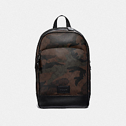 SLIM BACKPACK IN SIGNATURE CANVAS WITH HALFTONE CAMO PRINT - GREEN MULTI/BLACK ANTIQUE NICKEL - COACH F37613