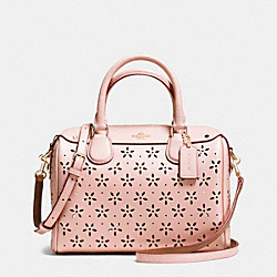 COACH MINI BENNETT SATCHEL IN LASER CUT LEATHER - IMITATION GOLD/PEACH ROSE GLITTER - F37619