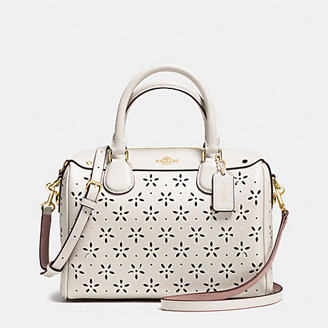 COACH f37619 MINI BENNETT SATCHEL IN LASER CUT LEATHER  IMITATION GOLD/CHALK GLITTER