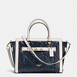 BLAKE CARRYALL IN QUILTED COLORBLOCK LEATHER - f37620 - IMITATION GOLD/MIDNIGHT/CHALK