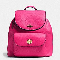 MINI BILLIE BACKPACK IN PEBBLE LEATHER - f37621 - IMITATION GOLD/PINK RUBY