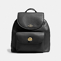 COACH MINI BILLIE BACKPACK IN PEBBLE LEATHER - IMITATION GOLD/BLACK - F37621