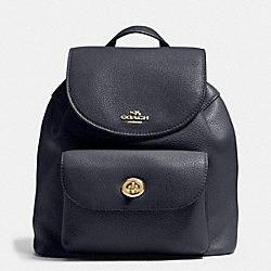 MINI BILLIE BACKPACK IN PEBBLE LEATHER - f37621 - IMITATION GOLD/MIDNIGHT