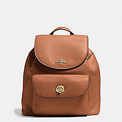 MINI BILLIE BACKPACK IN PEBBLE LEATHER - f37621 - IMITATION GOLD/SADDLE