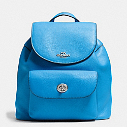 MINI BILLIE BACKPACK IN PEBBLE LEATHER - f37621 - SILVER/AZURE