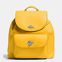 MINI BILLIE BACKPACK IN PEBBLE LEATHER - f37621 - SILVER/CANARY