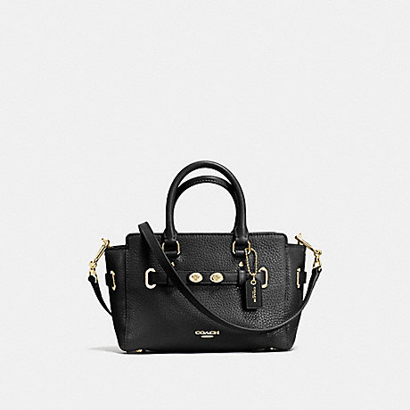 COACH f37635 MINI BLAKE CARRYALL IN BUBBLE LEATHER IMITATION GOLD/BLACK