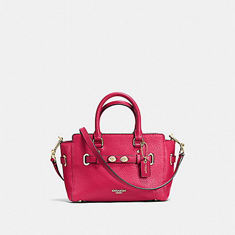 COACH MINI BLAKE CARRYALL IN BUBBLE LEATHER - IMITATION GOLD/BRIGHT PINK - f37635