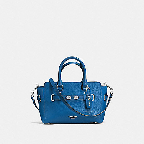 COACH MINI BLAKE CARRYALL IN BUBBLE LEATHER - SILVER/LAPIS - f37635