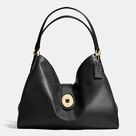 COACH f37637 CARLYLE SHOULDER BAG IN SMOOTH LEATHER IMITATION GOLD/BLACK