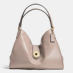 CARLYLE SHOULDER BAG IN SMOOTH LEATHER - f37637 - IMITATION GOLD/GREY BIRCH