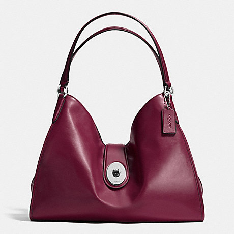 COACH f37637 CARLYLE SHOULDER BAG IN SMOOTH LEATHER SILVER/BURGUNDY