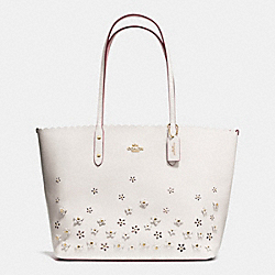 COACH CITY TOTE IN FLORAL APPLIQUE LEATHER - IMITATION GOLD/CHALK - F37651