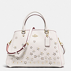 COACH SMALL MARGOT CARRYALL IN FLORAL APPLIQUE LEATHER - IMITATION GOLD/CHALK - F37659
