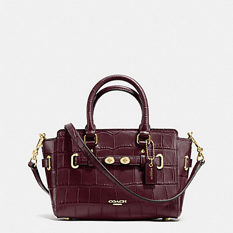 COACH f37665 MINI BLAKE CARRYALL IN CROC EMBOSSED LEATHER IMITATION GOLD/OXBLOOD