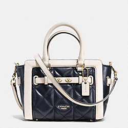 MINI BLAKE CARRYALL IN QUILTED COLORBLOCK LEATHER - f37666 - IMITATION GOLD/MIDNIGHT/CHALK