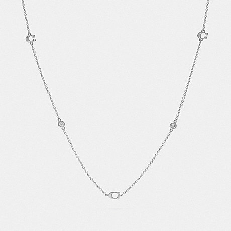COACH SIGNATURE CHAIN SHORT NECKLACE - SILVER - F37669