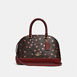 MINI SIERRA SATCHEL IN SIGNATURE CANVAS WITH POP STAR PRINT - BROWN MULTI/LIGHT GOLD - COACH F37673