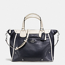 MICKIE SATCHEL IN SPECTATOR LEATHER - f37679 - SILVER/MIDNIGHT/CHALK