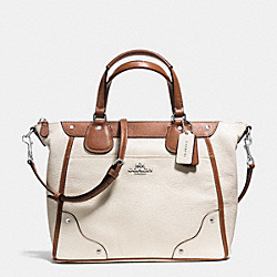 MICKIE SATCHEL IN SPECTATOR LEATHER - f37679 - SILVER/CHALK/SADDLE