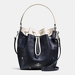 MICKIE DRAWSTRING SHOULDER BAG IN SPECTATOR LEATHER - f37680 - SILVER/MIDNIGHT/CHALK
