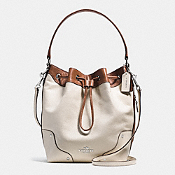 MICKIE DRAWSTRING SHOULDER BAG IN SPECTATOR LEATHER - f37680 - SILVER/CHALK/SADDLE