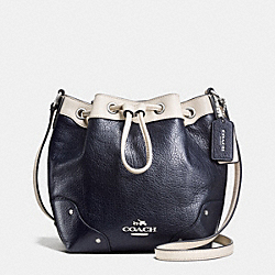 BABY MICKIE DRAWSTRING SHOULDER BAG IN SPECTATOR LEATHER - f37682 - SILVER/MIDNIGHT/CHALK