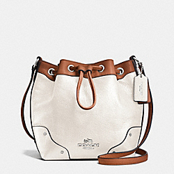BABY MICKIE DRAWSTRING SHOULDER BAG IN SPECTATOR LEATHER - f37682 - SILVER/CHALK/SADDLE
