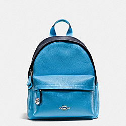 MINI CAMPUS BACKPACK IN BICOLOR LEATHER - f37690 - SILVER/AZURE/NAVY