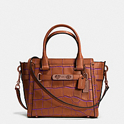 COACH SWAGGER 21 IN CONTRAST EXOTIC EMBOSSED LEATHER - SADDLE/SADDLE - COACH F37698