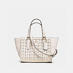 MINI CROSBY CARRYALL IN FLORAL RIVETS LEATHER - f37703 - LIGHT GOLD/CHALK