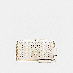 CROSSTOWN CROSSBODY IN FLORAL RIVETS LEATHER - f37704 - LIGHT GOLD/CHALK