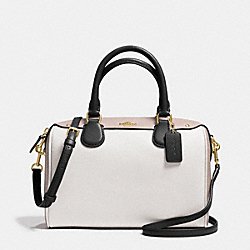 MINI BENNETT SATCHEL IN COLORBLOCK LEATHER - f37708 - IMITATION GOLD/CHALK/GREY BIRCH