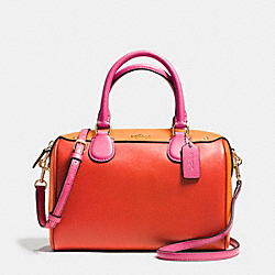 MINI BENNETT SATCHEL IN COLORBLOCK LEATHER - f37708 - IMITATION GOLD/CARMINE MULTI