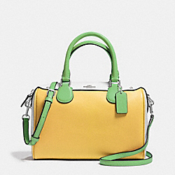 MINI BENNETT SATCHEL IN COLORBLOCK LEATHER - f37708 - SILVER/CANARY MULTI