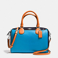 MINI BENNETT SATCHEL IN COLORBLOCK LEATHER - f37708 - SILVER/AZURE MULTI