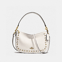 CHELSEA CROSSBODY IN FLORAL RIVETS LEATHER - f37711 - LIGHT GOLD/CHALK