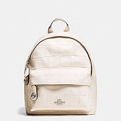 MINI CAMPUS BACKPACK IN CROC EMBOSSED LEATHER - f37713 - SILVER/CHALK