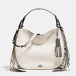 COACH NOMAD FRINGE HOBO IN PEBBLE LEATHER - DARK GUNMETAL/CHALK - COACH F37717