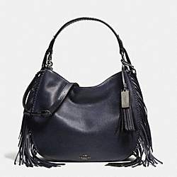 COACH NOMAD FRINGE HOBO IN PEBBLE LEATHER - DARK GUNMETAL/NAVY - COACH F37717