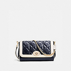 RUBY CROSSBODY IN QUILTED CALF LEATHER - f37723 - IMITATION GOLD/MIDNIGHT/CHALK