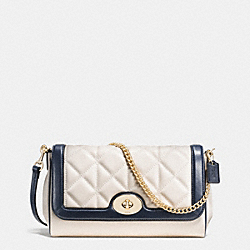 RUBY CROSSBODY IN QUILTED CALF LEATHER - f37723 - IMITATION GOLD/CHALK/MIDNIGHT