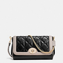 RUBY CROSSBODY IN QUILTED CALF LEATHER - f37723 - IMITATION GOLD/BLACK/GREY BIRCH