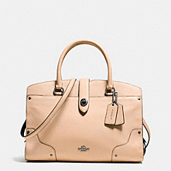 COACH MERCER SATCHEL 30 IN COLORBLOCK LEATHER - DARK GUNMETAL/BEECHWOOD/BLACK - F37729