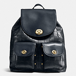 TURNLOCK RUCKSACK IN CROC EMBOSSED LEATHER - f37736 - LIGHT GOLD/NAVY