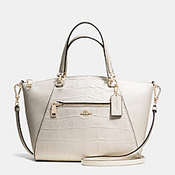 PRAIRIE SATCHEL IN CROC EMBOSSED LEATHER - f37737 - LIGHT GOLD/CHALK